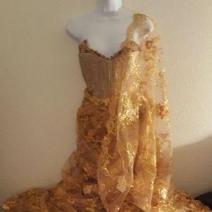 Gold Lace Corset Lehenga Saree Sari Wedding Set